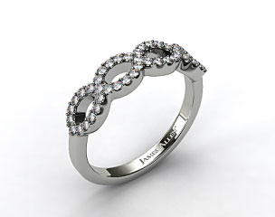 14K White Gold Pave Infinity Diamond Wedding Ring
