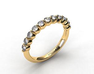 14K Yellow Gold Round Diamond Trio Wedding Ring