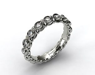 18k White Gold Pave Undergallery Wedding Band
