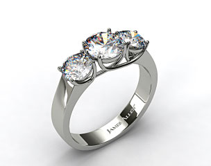 18k White Gold 1.00 Carat Total Weight Three Stone Cross Prong Diamond Engagement Ring