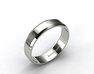 18k White Gold 6mm Beveled Comfort Fit Wedding Band