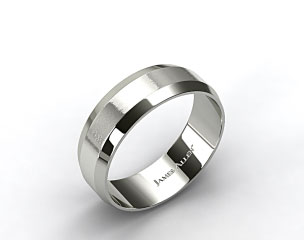 Platinum 8mm Beveled Comfort Fit Wedding Band