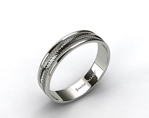 18K White Gold 6mm Arrow Design Comfort Fit Wedding Band