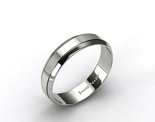 18k White Gold 6mm Etched Comfort Fit Wedding Band