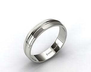 14k White Gold 6mm Carved Comfort Fit Wedding Band