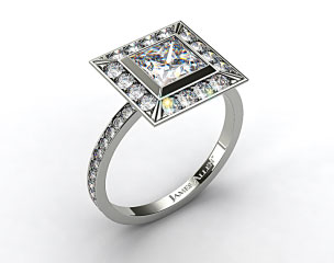 18k White Gold Pave Set Halo Diamond Engagement Ring