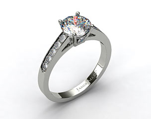 14k White Gold Single Claw Prong Pave Set Surprise Diamond Engagement Ring