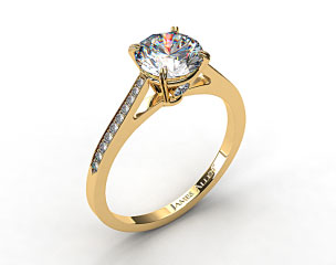 18k Yellow Gold Double Claw Prong 0.18ct Pave Set Surprise Diamond Engagement Ring