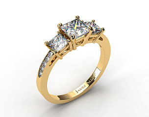 18k Yellow Gold Three Stone Princess and Pave Set Diamond Engagement Ring