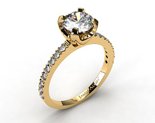 18K Yellow Gold 2.0mm Art-Nouveau Pave Set Diamond Engagement Ring