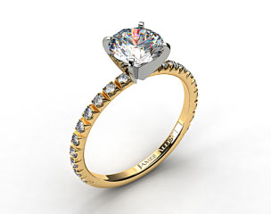 18K Yellow Gold Thin French-Cut Pave Set Diamond Engagement Ring