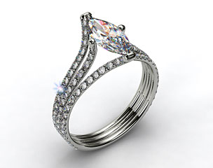 14k White Gold Three Row Pave ZE118 by Danhov Designer Engagement Ring