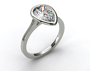 18k White Gold Bezel Solitaire Engagement Ring (Pear Center)