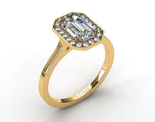18k Yellow Gold Pave Halo Engagement Ring (Emerald Center)
