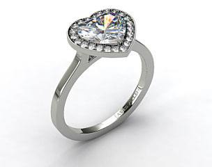 18k White Gold Pave Halo Engagement Ring (Heart Center)
