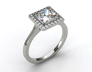 14k White Gold Pave Halo Engagement Ring (Princess Center)
