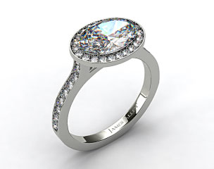 14k White Gold Pave Halo & Shoulders Engagement Ring (Oval Center)