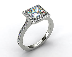 Platinum Pave Halo & Shoulders Engagement Ring (Princess Center)