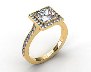 18k Yellow Gold Pave Halo & Shoulders Engagement Ring (Princess Center)