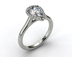 Platinum Pave Halo Diamond Engagement Ring (Pear Center)