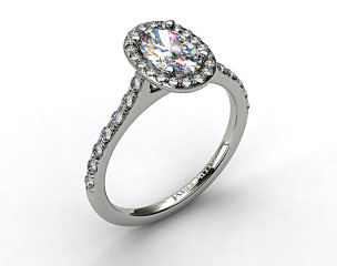 14K White Gold Pave Halo and Shank Diamond Engagement Ring (Oval Center)
