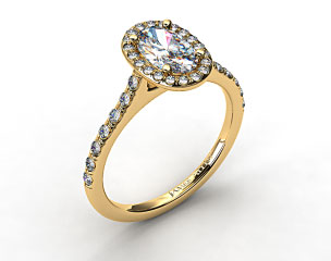 14K Yellow Gold Pave Halo Diamond Engagement Ring (Oval Center)