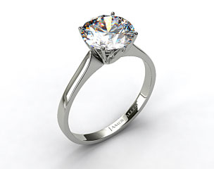 14k White Gold Four Prong Cathedral Arch Engagement Ring