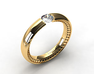 18k Yellow Gold Contoured Circles Tension V150 by Danhov Designer Engagement Ring