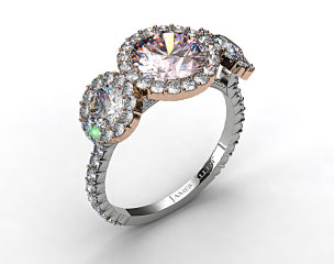 18k White Gold Three Stone Pave Halo XE106 by Danhov Designer Engagement Ring (Rose Gold Basket)