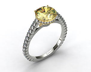 18K White Gold Pave Basket XE110 by Danhov Designer Engagement Ring (Yellow Gold Basket)