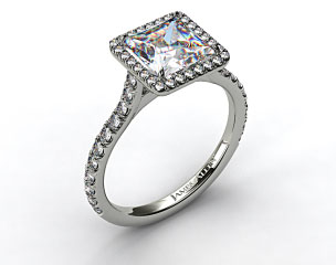 18k White Gold Pave Set Engagement Ring (Princess Center)