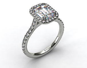 14k White Gold Pave Set Engagement Ring (Emerald Center)