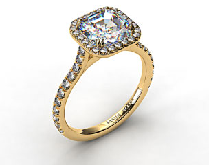 18k Yellow Gold Pave Set Engagement Ring (Asscher Center)