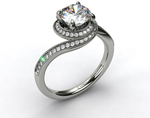 14k White Gold Enclosed Pave Halo
