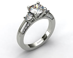 14k White Gold Round Brilliant and Pave Accents Engagement Ring