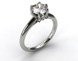 Platinum Diamond Accented Prong Engagement Ring