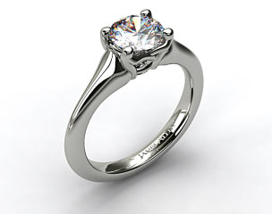 18K White Gold Twisted Love Knot Solitaire Engagement Ring