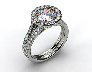 Platinum Pave Halo Engagment Ring with Two Diamond Encrusted Bands