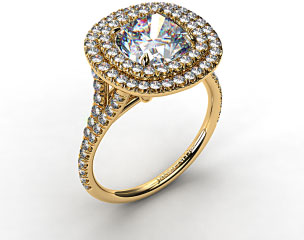18K Yello Gold Pave Double Halo Engagement Ring with Pave Split Shank Design