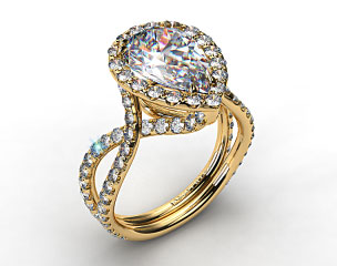 18K Yellow Gold Elevated Pave Halo Engagement Ring with Diamond Encrusted Band