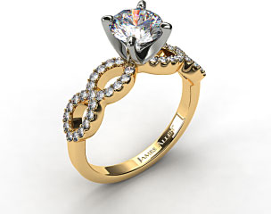 18K Yellow Gold Pave Infinity Diamond Engagement Ring
