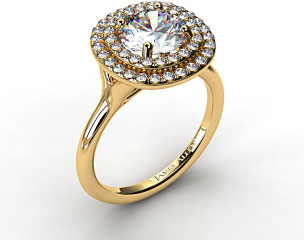 18K Yellow Gold Split Shank Double Halo Pave Engagement Ring