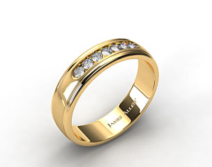 14k Yellow Gold 6mm Channel Set Diamond Wedding Ring