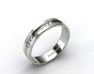 Platinum 6mm Etched Channel Set Diamond Wedding Ring