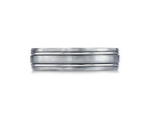 Titanium 6mm Satin and High Polish, Grooved Wedding Ring