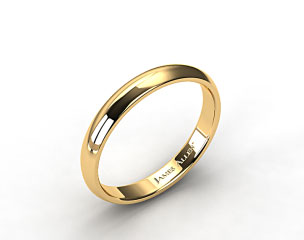 18k Yellow Gold 4mm Slightly Domed Comfort Fit Wedding Ring