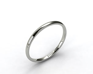 14k White Gold 2.0mm Traditional Slightly Curved Wedding Ring