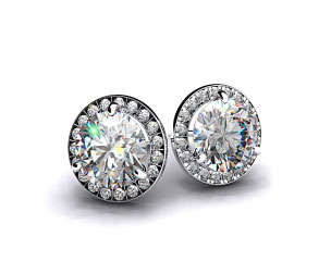 Pair of Ladies 1ctw 18k White Gold Round Brilliant Diamond Pave Frame Earrings