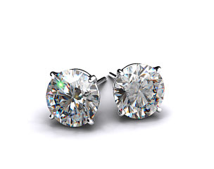Pair of Classic 1ctw Ladies 18k White Gold Four Prong Round Brilliant Diamond Earrings
