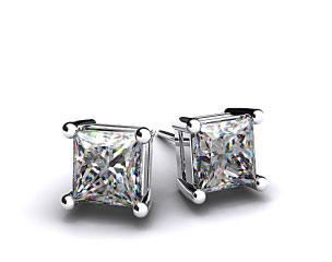 Pair of Ladies 18k White Gold 3/4ctw Classic 4 Prong Asscher Cut Diamond Earrings